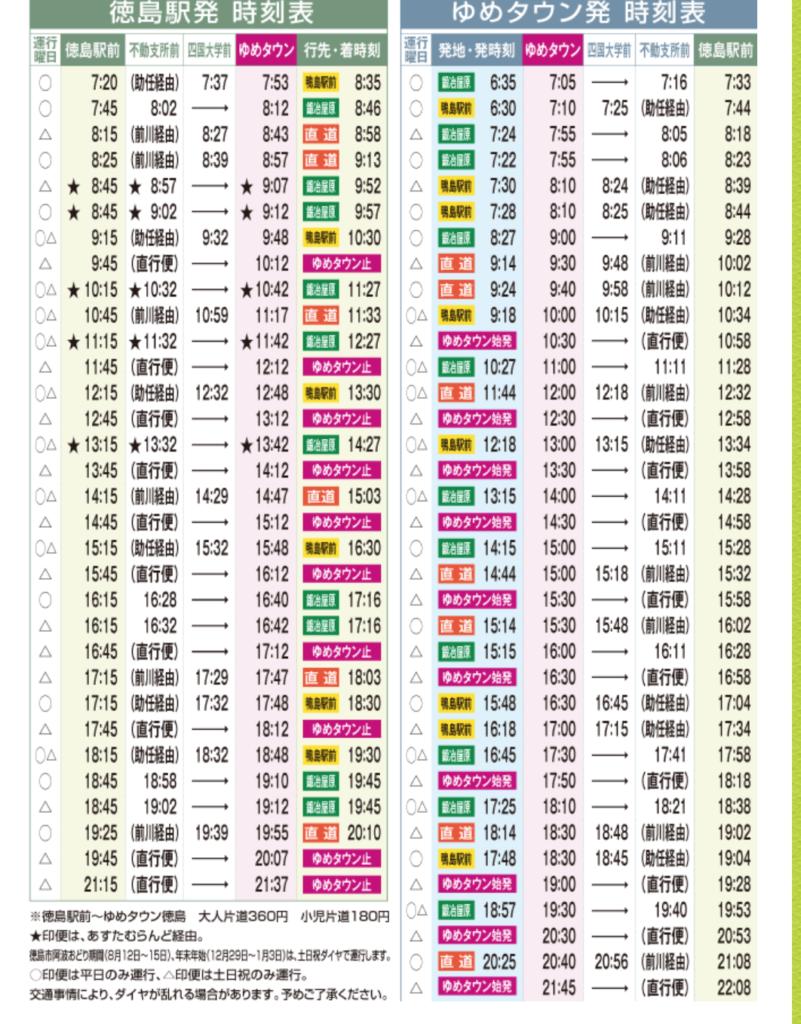 徳島駅からゆめタウンの時刻表